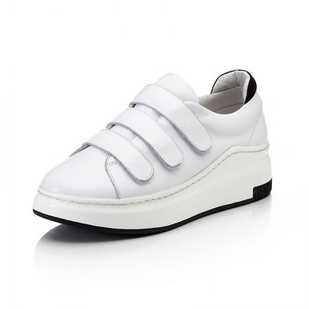奈绮儿牛皮魔术贴圆头平底休闲鞋女鞋·白色