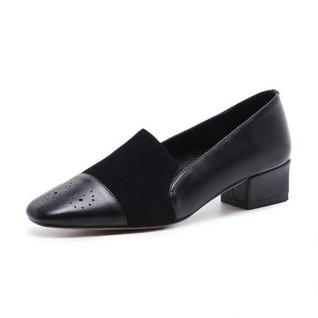 奈绮儿真皮拼接单鞋方头中粗跟女鞋小皮鞋·黑色