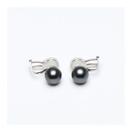 Vermeer 14K白金大溪地海水珍珠耳夹耳钉2用耳环9-10mm·珍珠颜色: