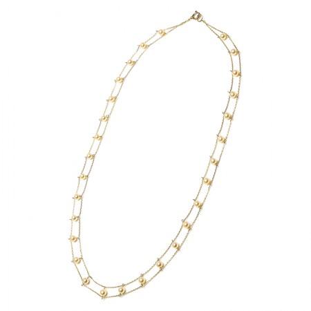 Vermeer 14K金日本akoya海水珍珠双链项链·珍珠颜色:金色