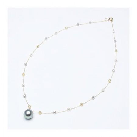 Vermeer 14K黄金大溪地珍珠配AKOYA海水珍珠项链·珍珠颜色:黑色/白