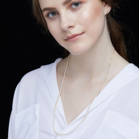 Vermeer 14K黄金AKOYA海水珍珠项链2.5-4mm·珍珠颜色:白色