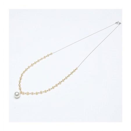 Vermeer 14K黄金+14K白金AKOYA海水珍珠项链·金色/白色