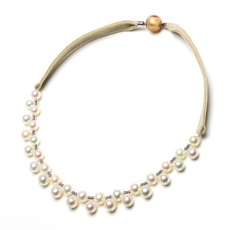 Vermeer 18K金+14K金日本akoya海水珍珠皮绳项链(编号1754)