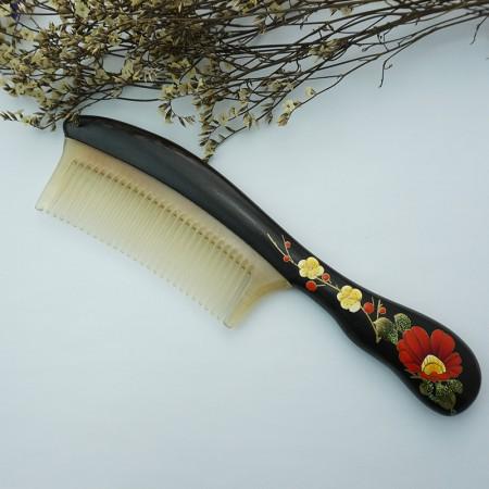 百年许氏 花式精致小叶紫檀羊角漆艺梳