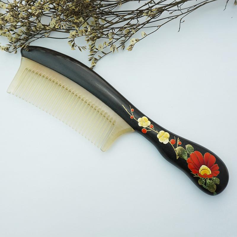 百年许氏 繁花黑檀漆艺梳子