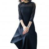 妖歌 雪纺中长款修身网纱拼接A字裙1064211·黑色