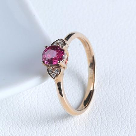老冯记18K红宝石戒指(天然鸽血红)经典款 总重:2.17g