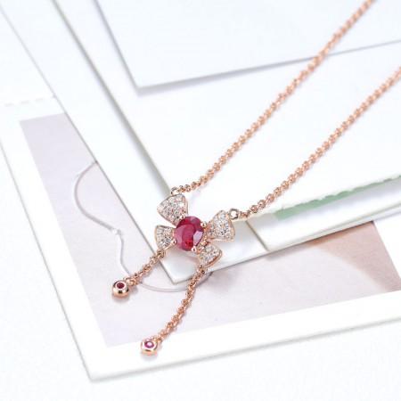 老冯记18K红宝石锁骨链时尚款 (天然鸽血红)总重:3.09g