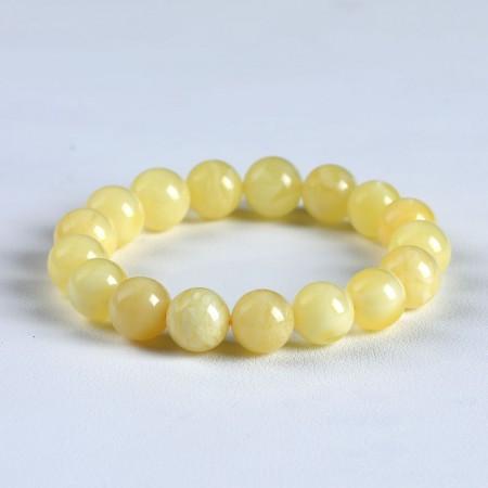 满记天然蜜蜡手链带白花蜜手链(孤品)重14.5g 珠约11.5mm