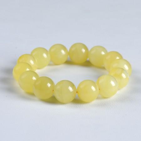 满记天然蜜蜡手链带白花蜜手链(孤品)重30.6g 珠约15.5mm