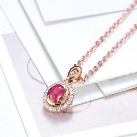 老冯记18K红宝石吊坠经典款(天然鸽血红)0.525克拉(赠送18K项链)