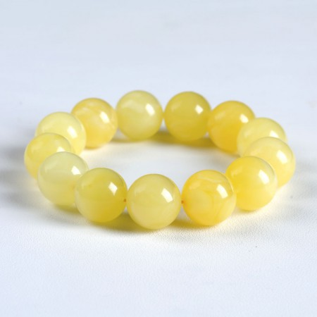 满记天然蜜蜡手链带白花蜜手链(孤品)重21.4g 珠约13.5mm