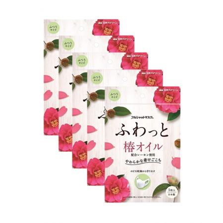 日本直邮 椿树油保湿口罩(5枚装)防干燥缓解花粉症 五件装