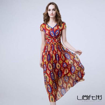 尚街 波西米亚真丝沙滩裙长裙·花色