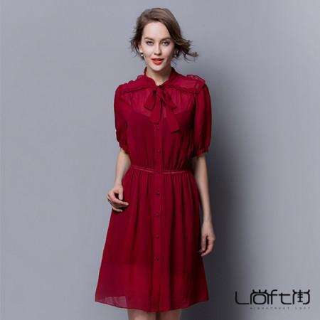 尚街 纯色领口系带收腰真丝连衣裙·红色