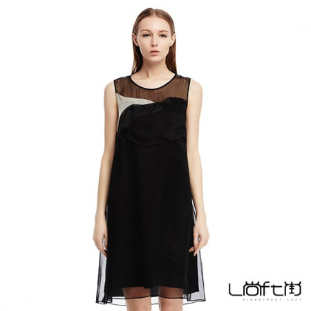 尚街 不规则拼接真丝连衣裙·黑色