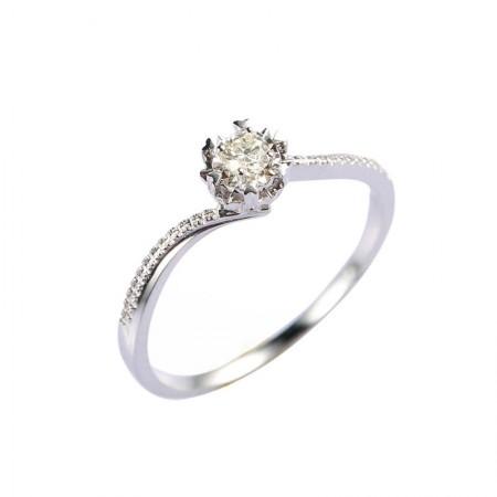 海瑞雅18K金镶嵌10分钻石戒指