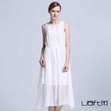 尚街 修身真丝连衣裙·白色