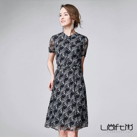 尚街 蔷薇恋 真丝连衣裙·黑色