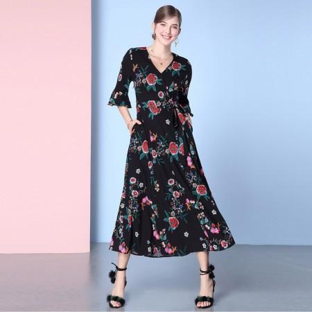OLISI欧力丝女装性感V领时尚喇叭印花连衣裙WL506A5049·黑多色