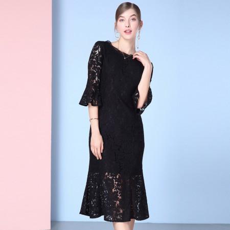 欧力丝女装性感蕾丝圆领喇叭袖修身包臀鱼尾连衣裙WL506F3629·黑色