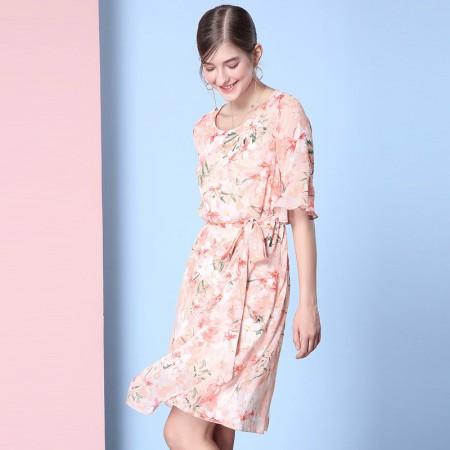 OLISI欧力丝女装圆领荷叶袖绑带印花植物花卉连衣裙WL506F3613·橙多色