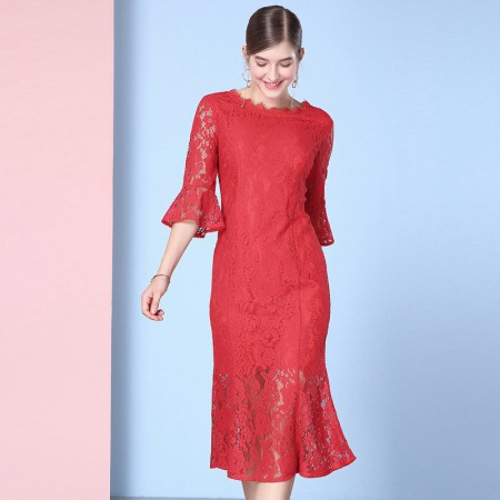 OLISI欧力丝女装性感蕾丝圆领喇叭袖修身包臀鱼尾连衣裙WL506F3629·红