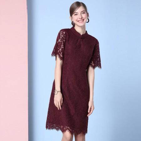 欧力丝女装时尚睫毛蕾丝花边气质圆领中长连衣裙WL506A5037·绛紫色