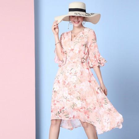 OLISI欧力丝女装V领斜门襟荷叶袖绑带不规则A摆印花连衣裙植物花卉·橙多色