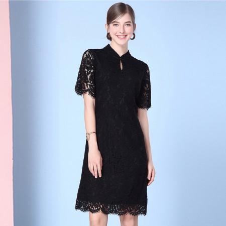 OLISI欧力丝女装时尚睫毛蕾丝花边气质圆领中长连衣裙WL506A5037·黑色