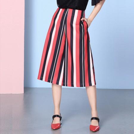 欧力丝女装潮流显瘦显高挑撞色条纹七分裤WH206A5059·红多色