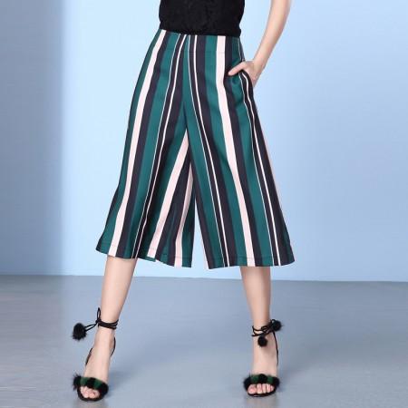 OLISI欧力丝女装潮流显瘦显高挑撞色条纹七分裤WH206A5059·绿多色