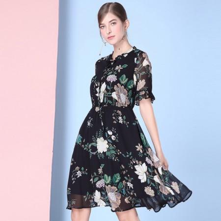 OLISI欧力丝女装圆领荷叶边袖修身印花连衣裙WL506A5210·黑多色