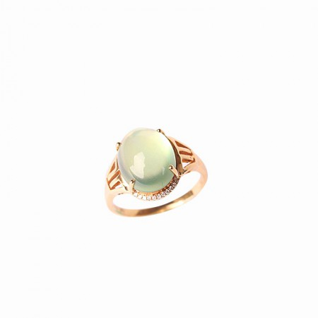 卓凡葡萄石配钻石戒指