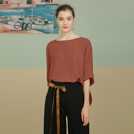 莉莉的蝙蝠袖系带宽松显瘦雪纺衫LL8203015·粉红色~