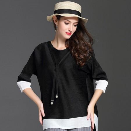 丝朵之丽  百搭领部装饰七分袖褶皱T恤·黑色