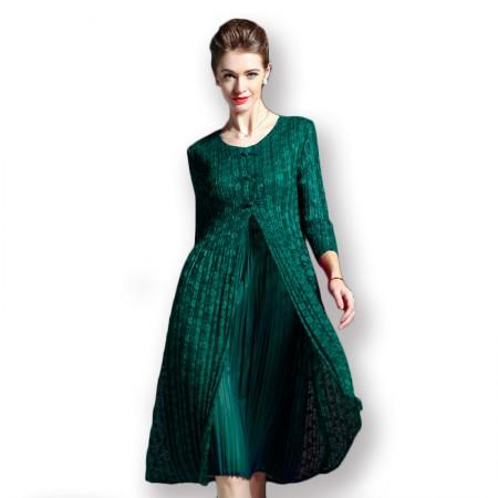 丝朵之丽 七分袖假两件蕾丝褶皱连衣裙·绿色