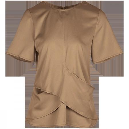 莉莉的交叉拼接圆领短袖简约纯色上衣LL8203018·驼色