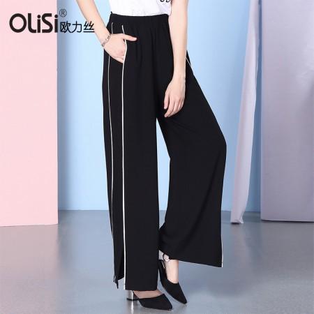 欧力丝装休闲显瘦运动型阔腿裤长裤·黑色