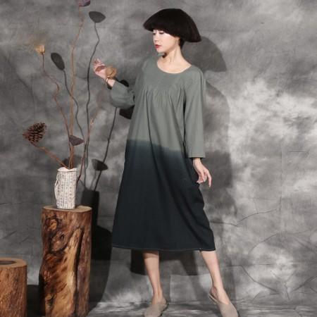 絮笈 圆领九分袖吊染文艺复古连衣裙·绿色