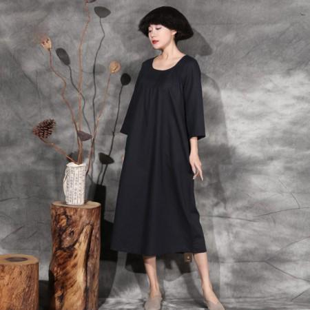 絮笈 圆领九分袖吊染文艺复古连衣裙·黑色
