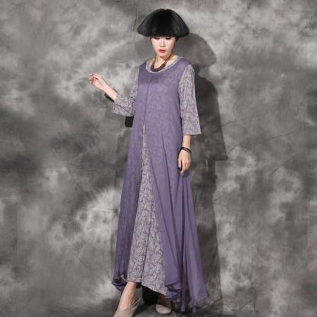 絮笈 圆领复古碎花假两件大摆连衣裙·紫色