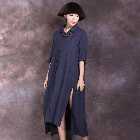絮笈 立领单排扣纯色棉麻宽松衬衫裙·蓝色