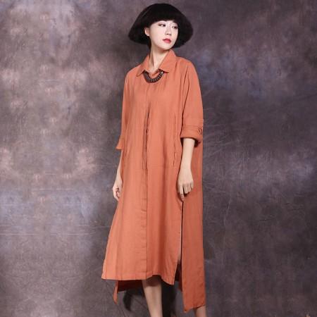 絮笈 立领单排扣纯色棉麻宽松衬衫裙·橘色