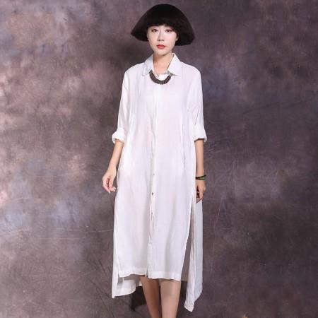 絮笈 立领单排扣纯色棉麻宽松衬衫裙·白色