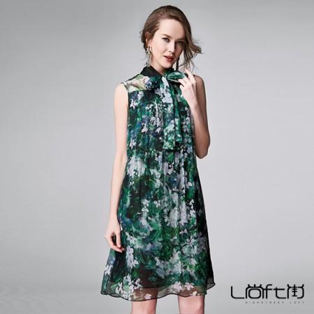 尚街 苍翠叶舞真丝连衣裙·绿色