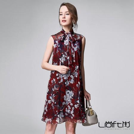 尚街 苍翠叶舞真丝连衣裙·红色