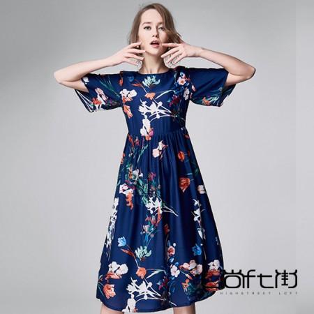 尚街 幽兰赋真丝连衣裙·蓝色