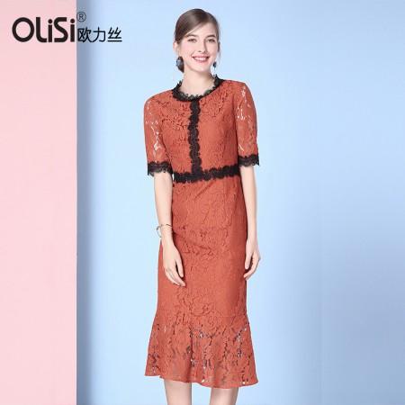 欧力丝OLISI女装蕾丝撞色修身优雅包臀鱼尾连衣裙·焦糖色
